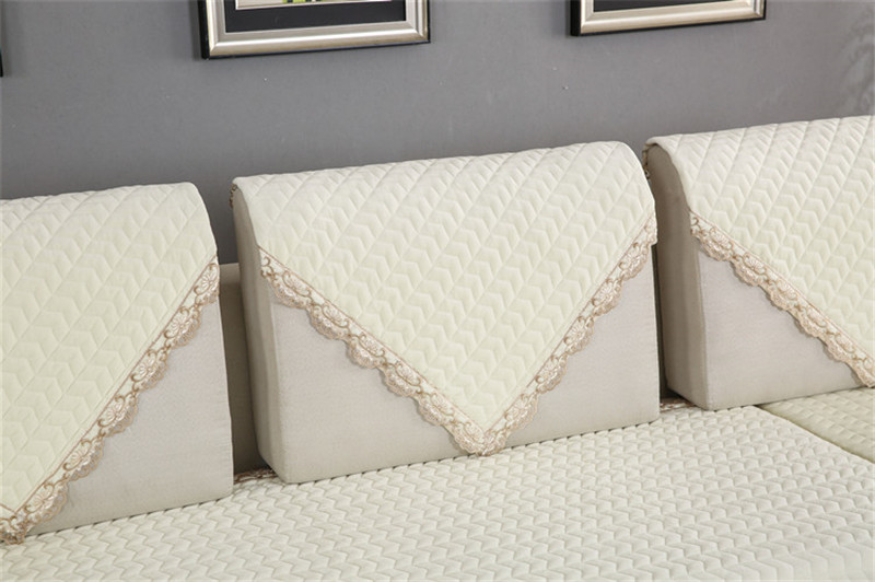 Thick Slip Resistant Couch Cover for Corner Sofa Made with Plush Fabric Including Lace for Living Room Decor 73