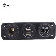 Dual USB Car Charger Waterproof with Lighter Slot Outlet Accessories Power Adapter