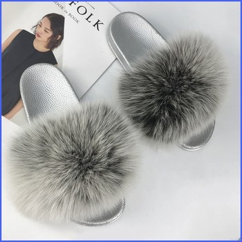Fur Slippers Women Fox Furry Slides Fluffy Slippers Home Summer Shoes Woman Fur Flip Flops For Ladies Luxury Brand Size 39-41