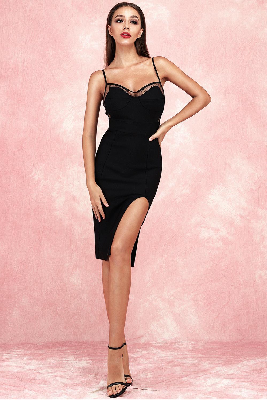 Lyer 2019 nouvelle haute qualité sexy serré noir robe spaghetti avec bandoulière et fente rayonne bandages robe de soirée