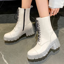 Autumn Women Ankle Boots Transparent White Soft Leather Motorcycle Boots Female