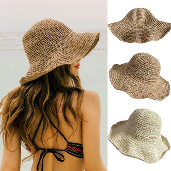 Summer Hoilday Floppy Straw Hat Women Ladies Wide Brim Beach Foldable Bow Flower Straw Sun Hat Sun Swimming Cap One Size Wide 1