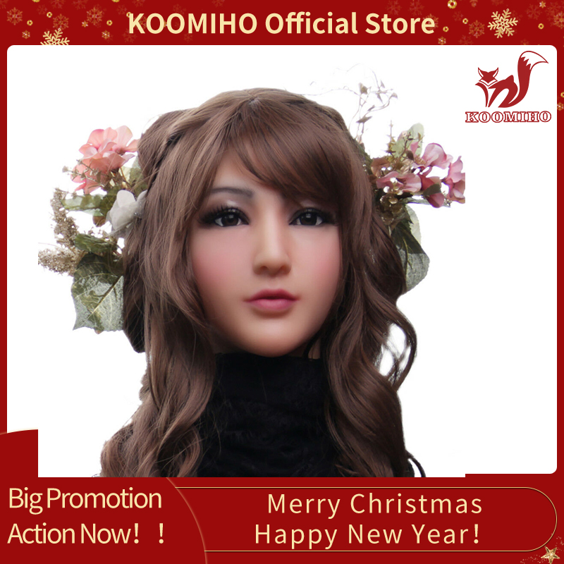 KOOMIHO Soft Silicone Realistic Female Head Mask Handmade Makeup Mask Claire Goddess Top masquerade Cosplay Mask Transgender 1G