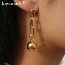 Punk Chunky Thick Link U Shape Geometric Drop Earrings Statement Big Beaded Long Chain Dangle Earring Women Fashion Ear Jewelry
