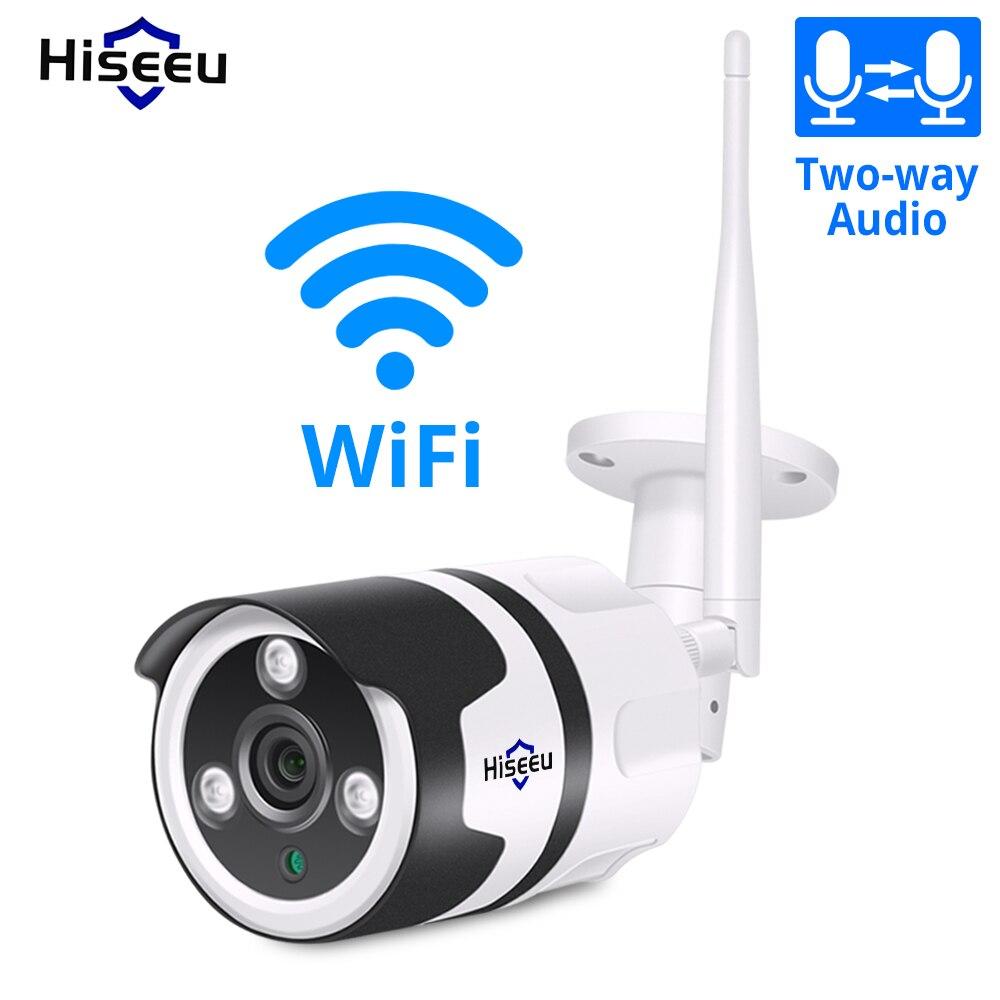 Hiseeu 2.0MP wi-fi ao ar livre câmera IP 1080P 720P à prova d' água câmera de segurança sem fio de metal dois sentidos cartão TF de áudio registro P2P bala