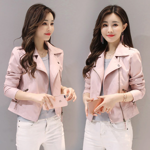 Women Jacket 2020 Spring Autumn Pink Pu Leather Coat Biker Bomber Jacket Motorcycle Faux Leather Outerwear Casual Black Jackets