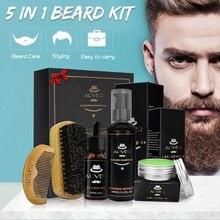5Pcs/Set Men Beard Care Grooming Kit Mustache & Beard Styling Tools Beard Oil Balm Brush Bead Comb Shampoo Scissors Gift