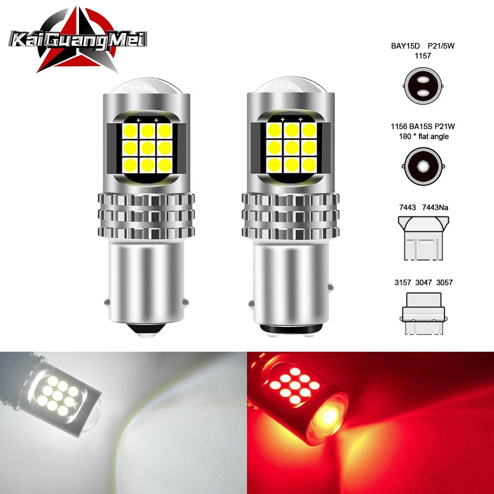 Auto Daytime Running Signal Light 1156 P21W BA15S 1157 BAY15S LED Car Tail Bulb Brake Lights 3030 24SMD 3157 7443 Led Light 12V
