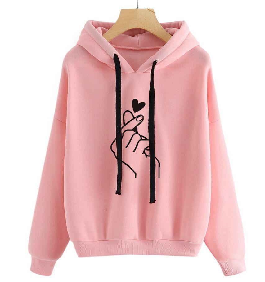 MoneRffi 2020 Spring Women Fashion Hoodies Casual Print Solid Color Loose Drawstring Sweatshirt Long Sleeve Hooded Female Tops