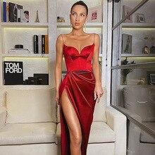 BKLD сексуальное облегающее платье с v-образным вырезом и разрезом, модное черное атласное элегантное женское платье без рукавов, длинные лет...