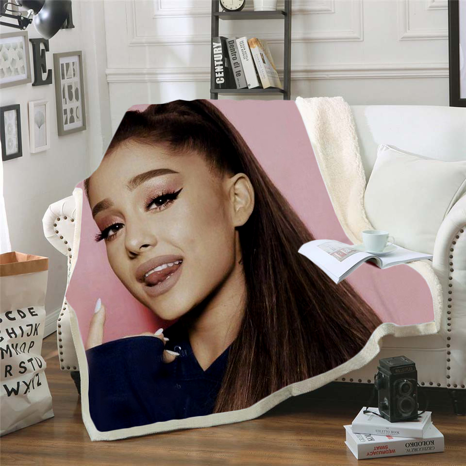 Ariana Grande 3D Printing Plush Fleece Blanket Adult Fashion Quilts Home Office Washable Duvet Casual Kids Sherpa Blanket 08