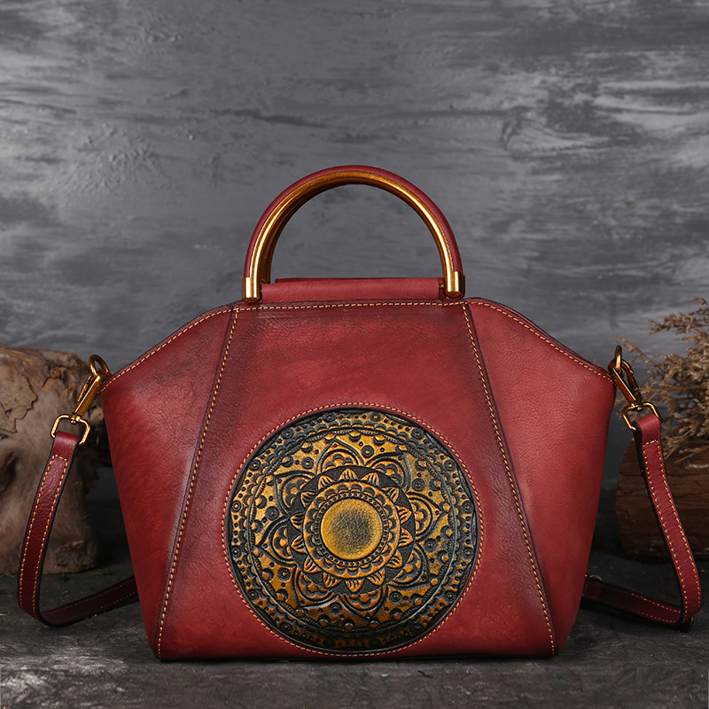 Luxury Women's Bag Chinese Style Genuine Leather Handbags Female Shoulder Messenger Bag Cow Leather Handmade Ladies Handbag Bags