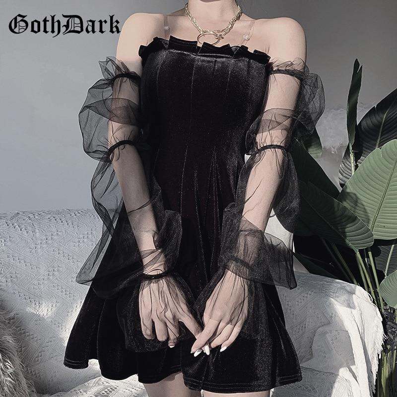 Goth Dark Mesh Vintage Gothic Dresses Egirl 2020 Aesthetic Transpanent Strap Pleated Dress Chic Punk Hip Hop Grunge Emo Y2K Chic
