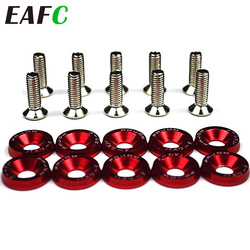 10pcs Car Modified Hex Fasteners Fender Washer Bumper Engine Concave Screws Aluminum Washers And M6 Bolt For Honda QRF002-TP