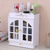 Caixa de armazenamento de madeira à prova dwaterproof água penteadeira cosméticos caixa de armazenamento prateleira do banheiro caixa de armazenamento gaveta Organizadores de maquiagem     -