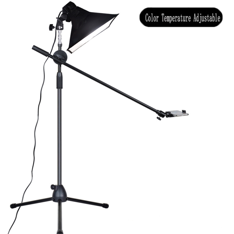 Photography Phone LED Lamp+Bracket Stand Boom Arm Reflector Softbox Continuous Lighting Kits For Photo Video Shooting Fill Light