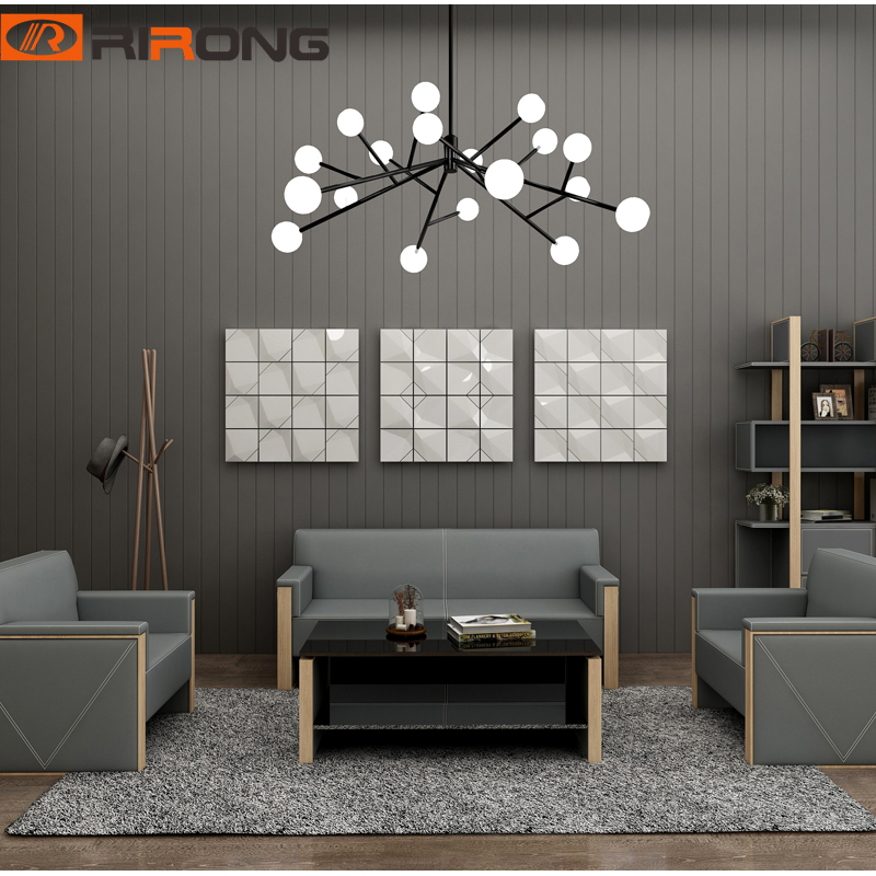 Modern Simple Design Leather Office Home Reception Area Furniture Wood Office Sofa Couch Coffee Tempered Table Set