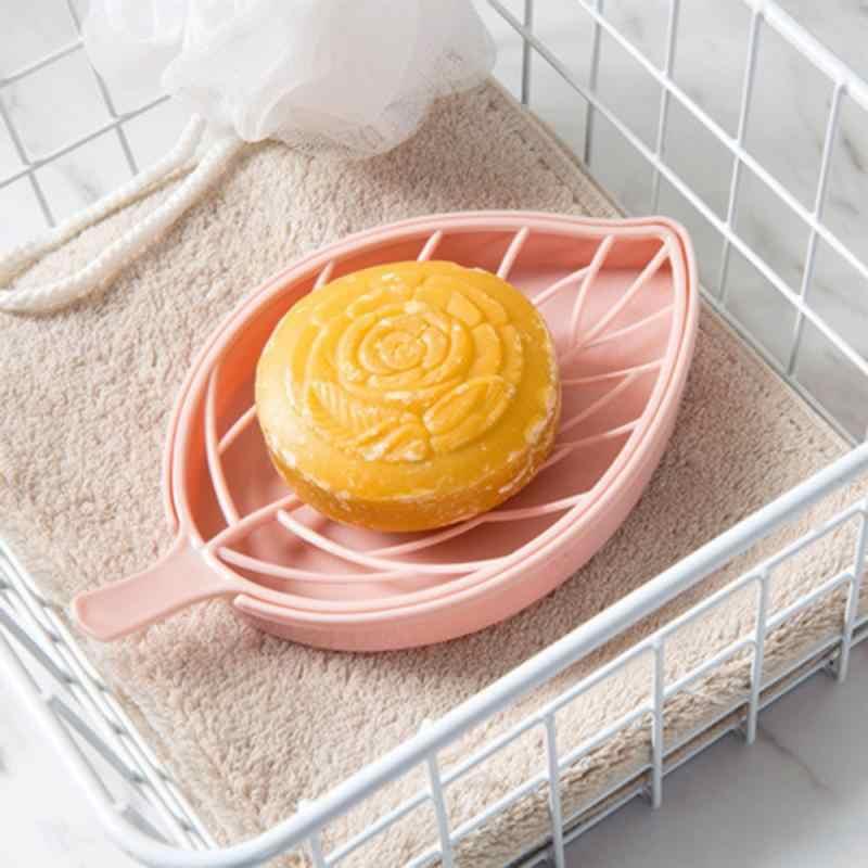 Leaf Shape Non Slip Soap Holder Shower Tray Draining Shower Rack Storage Case