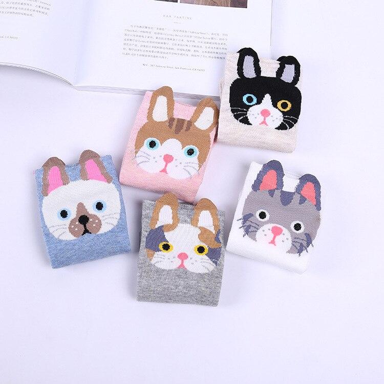 10 Piece=5 Pairs/lot Wholesale Cartoon Animal Print Ladies Cotton Socks Cute Cat Socks Funny Student Socks Pink Fuzzy Socks