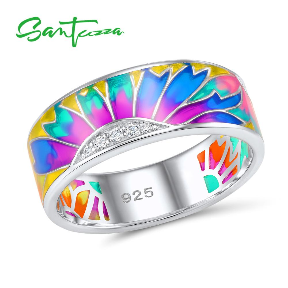 SANTUZZA Silver Silver For Women 925 Sterling Silver Fashion Rings for Women 2017 Cubic Zirconia Ringen Party Jewelry Enamel