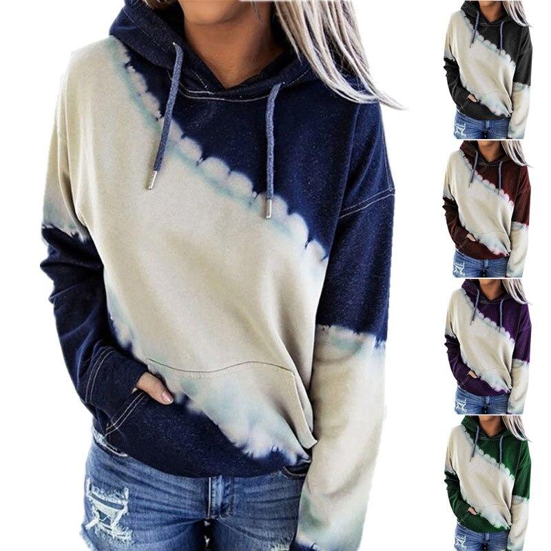 Женская толстовка с капюшоном Sudaderas, винтажная Свободная кофта с длинными рукавами и принтом в виде галстука-красителя для осени 2020, Прямая ...
