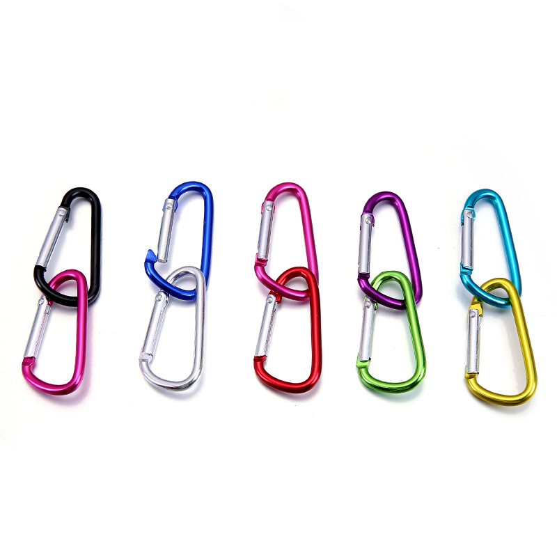 100pcs Aluminum Snap Carabiner D-Ring Key Chain Clip Keychain Hiking Camp Mountaineering Buckle Hook Climbing Travel Accessories