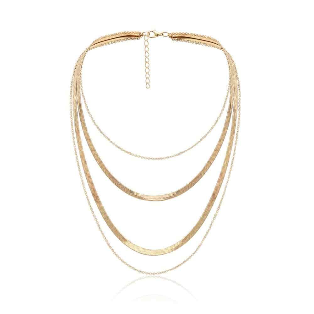 Bohème couches gland collier ras du cou pendentif pour les femmes gothique or couleur serpent torsion chaîne collier déclaration bijoux