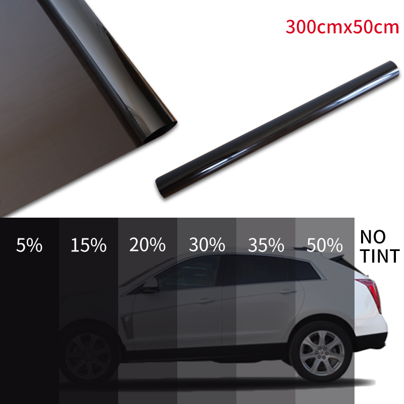 300cmx50cm Black Car Window Foils Tint Tinting Film Roll Car Auto Home Window Glass Summer Solar UV Protector Sticker Films