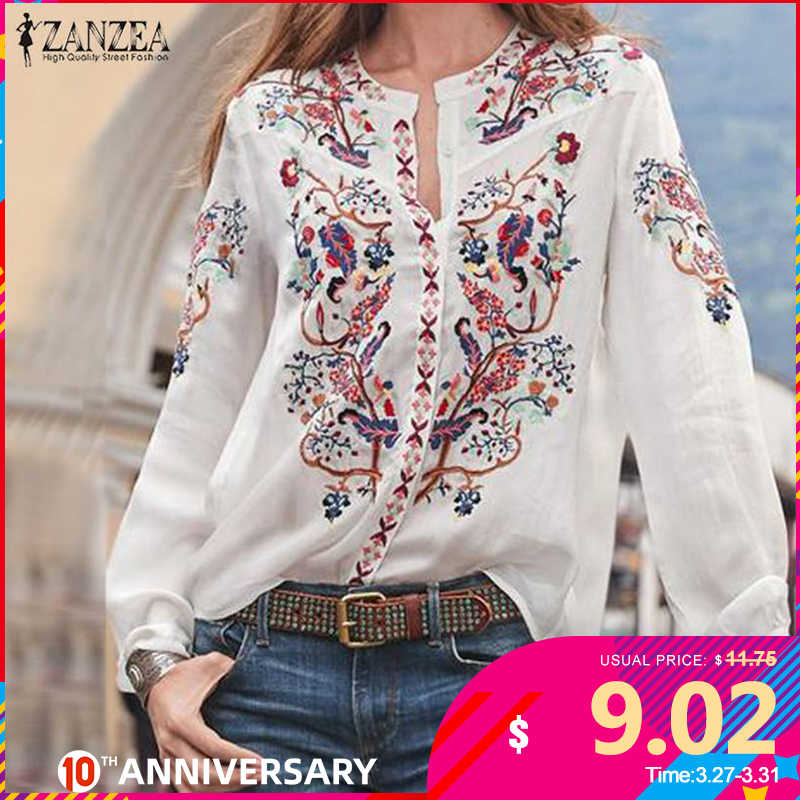 Zanzea 2020 ファッションプリントレディース秋ブラウスボヘミアン v ネック長袖シャツ女性カジュアルルース blusas プラスサイズ