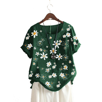 Floral Printed Women Tops and Blouses Casual Cotton Linen Loose 2020 Summer Round Neck Short Sleeve Plus Size Shirt for Women fashionable round neck short sleeve plus size printed dress for women