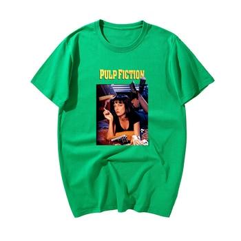 2019 New Fashion Pulp Fiction,Poster Print T Shirt Men Summer Casual 100% Cotton Short Sleeve Tshirts Tops Harajuku Streetwear - Green 6, XXXL