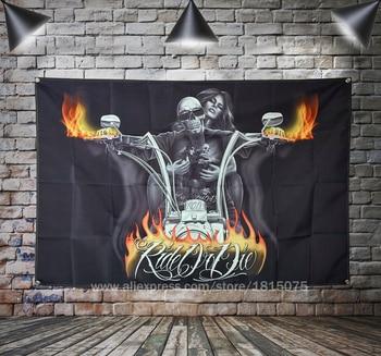 цена на Skull Flames Tattoo Biker Flag Banner Sexy lady Beauty Art Home Decoration Hanging flag 4 Gromments in Corners 3*5FT 144cm*96cm