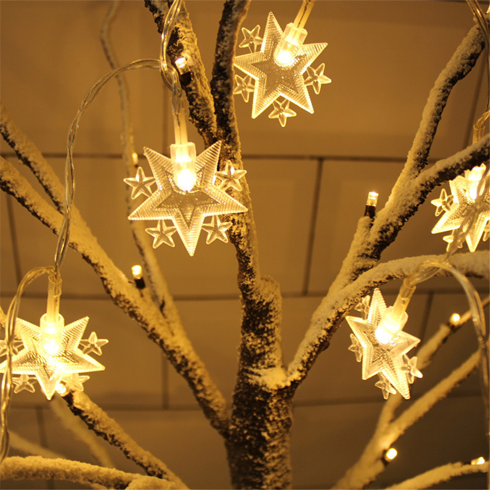 Battery Powered 10Leds/20Leds Star Moon String Light Twinkle Garlands Christmas Lamp Holiday Party Wedding Decorative Lights