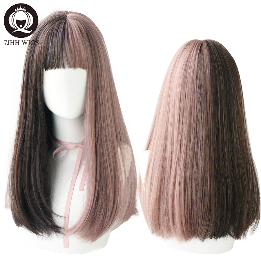 7JHH Long Remy Wig With Bangs Ombre Black Brown Synthetic Lolita Wig For Women High Temperature Wire Heat Resistant Cosplay Wig