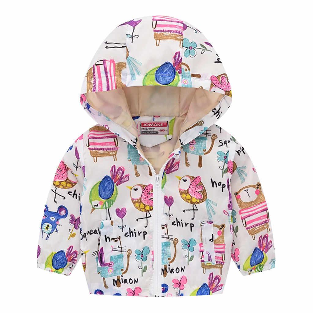 ฤดูใบไม้ร่วงสำหรับเด็กเด็กวัยหัดเดินเด็กทารกเด็กหญิงเด็กชายแขนยาวพิมพ์การ์ตูนซิป Hooded Coat Jaqueta Couro 2019 ใหม่เสื้อผ้า