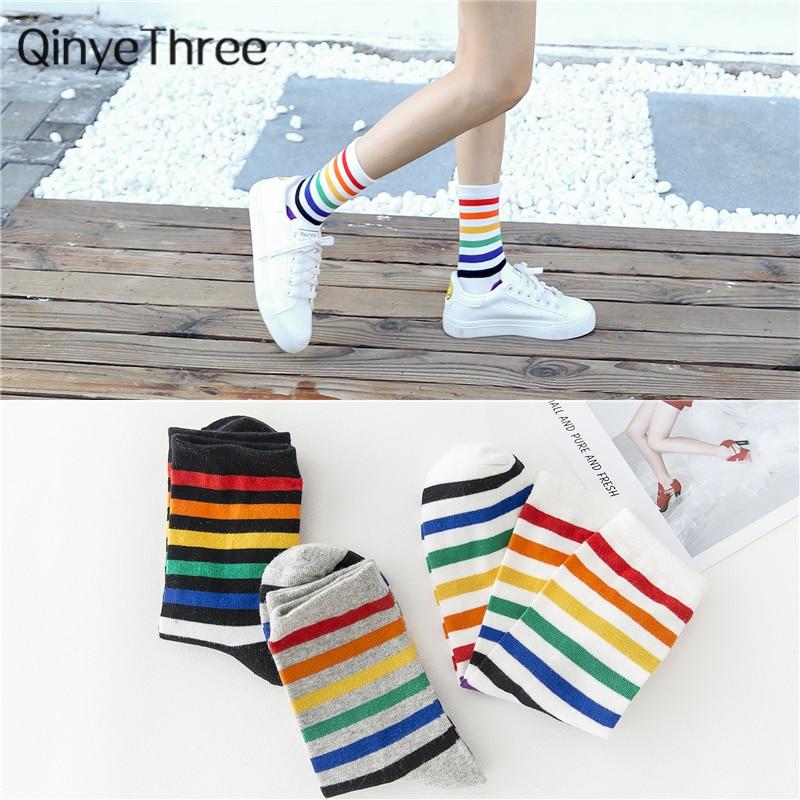 Spring Summer Rainbow Stripe Female Socks Tube Socks Tide Socks Pile Socks