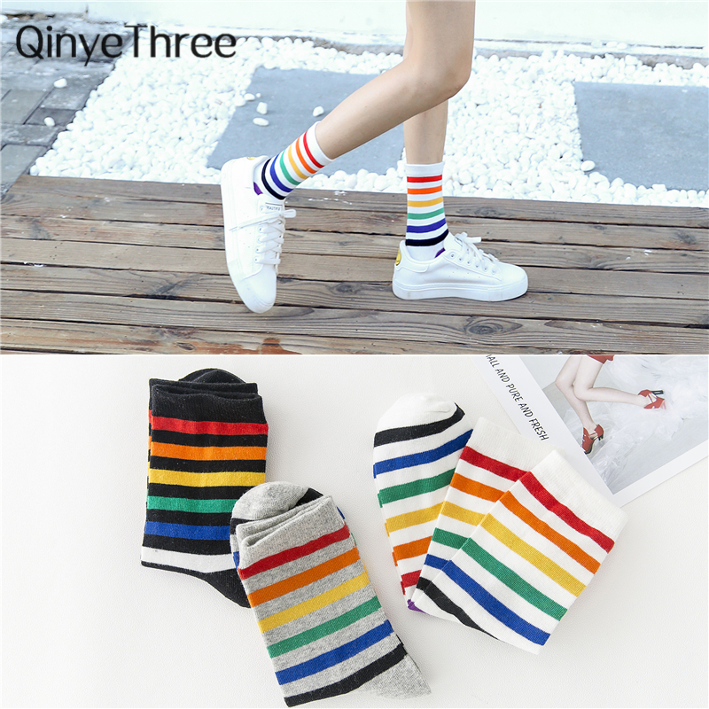 Women Happy Summer Fall Winter Japanese Korean Hipster Rainbow Stripes Tube Socks Unisex Harajuku Socks Dropship