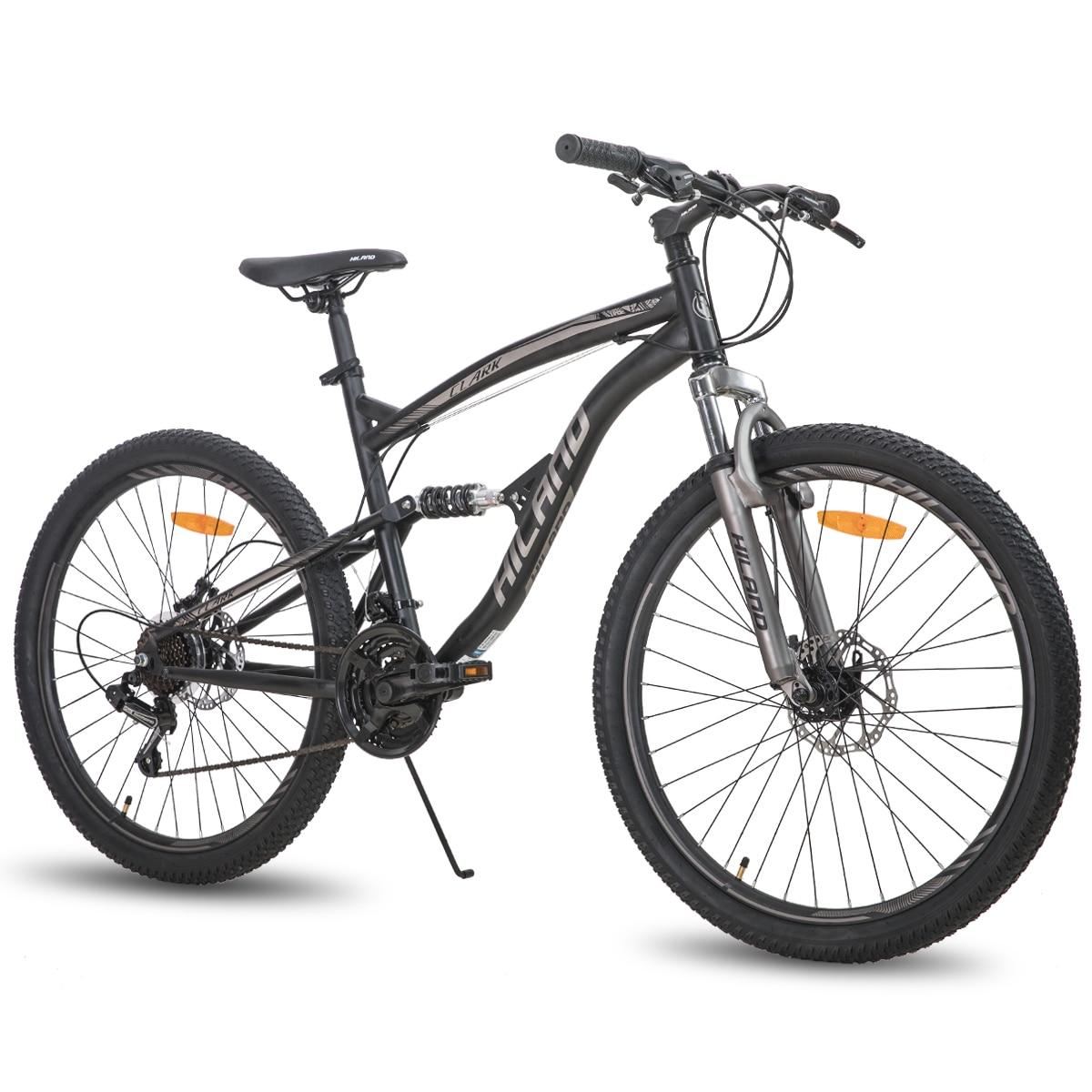 Горный велосипед HILAND, колеса 26 дюймов, стальная рама, колеса 21 скорость, двойной дисковый тормоз, запчасти Shimano, склад в Нидерландах, ЕС