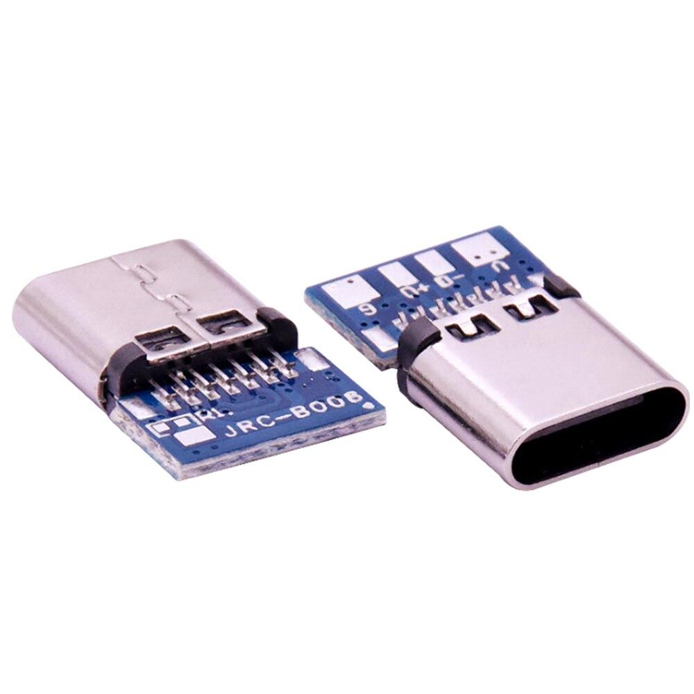 10 pces micro usb 2.0 tipo c conector 14 pinos fêmea soquete receptáculo através de furos pcb 180 vertical escudo usb