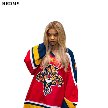 Camiseta HHDMV GHM16050 estilo hip-hop, de moda de primavera, con cuello en V y manga larga, camiseta roja holgada, sencilla y cómoda