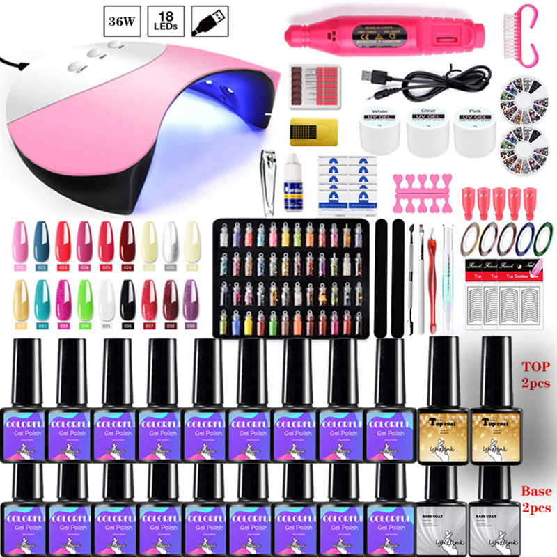 Manicure Set With 120W/54W/36W UV Led Nail Lamp Nail Set 20000RPM Nail drill Machine 20 Color UV Gel Nail Polish Kit Tools Set