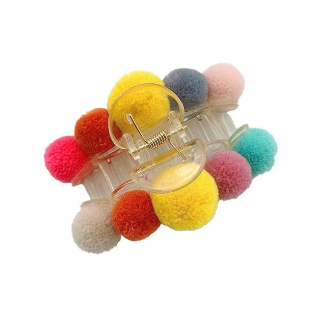Фото заколка краб для волос с шариками женская элегантная разноцветная цена