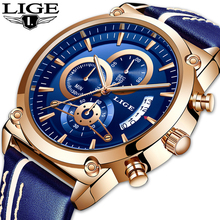 купить Relogio Masculino LIGE Mens Watches Analog Quartz Watch Date Creative Dial Blue Leather Strap Waterproof Watch Reloj Hombre дешево