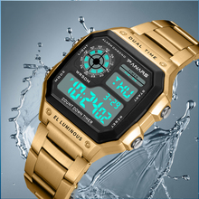 SYNOKE Business Men 50M Waterproof Stainless Steel Digital Wrist watches Top Brand Luxury Mens Clock Relogio Masculino Wacth cheap NONE Plastic CN(Origin) 25 3cm 5Bar SPORT Buckle Square 24 3mm 13 2mm Acrylic Back Light Shock Resistant LED Display luminous