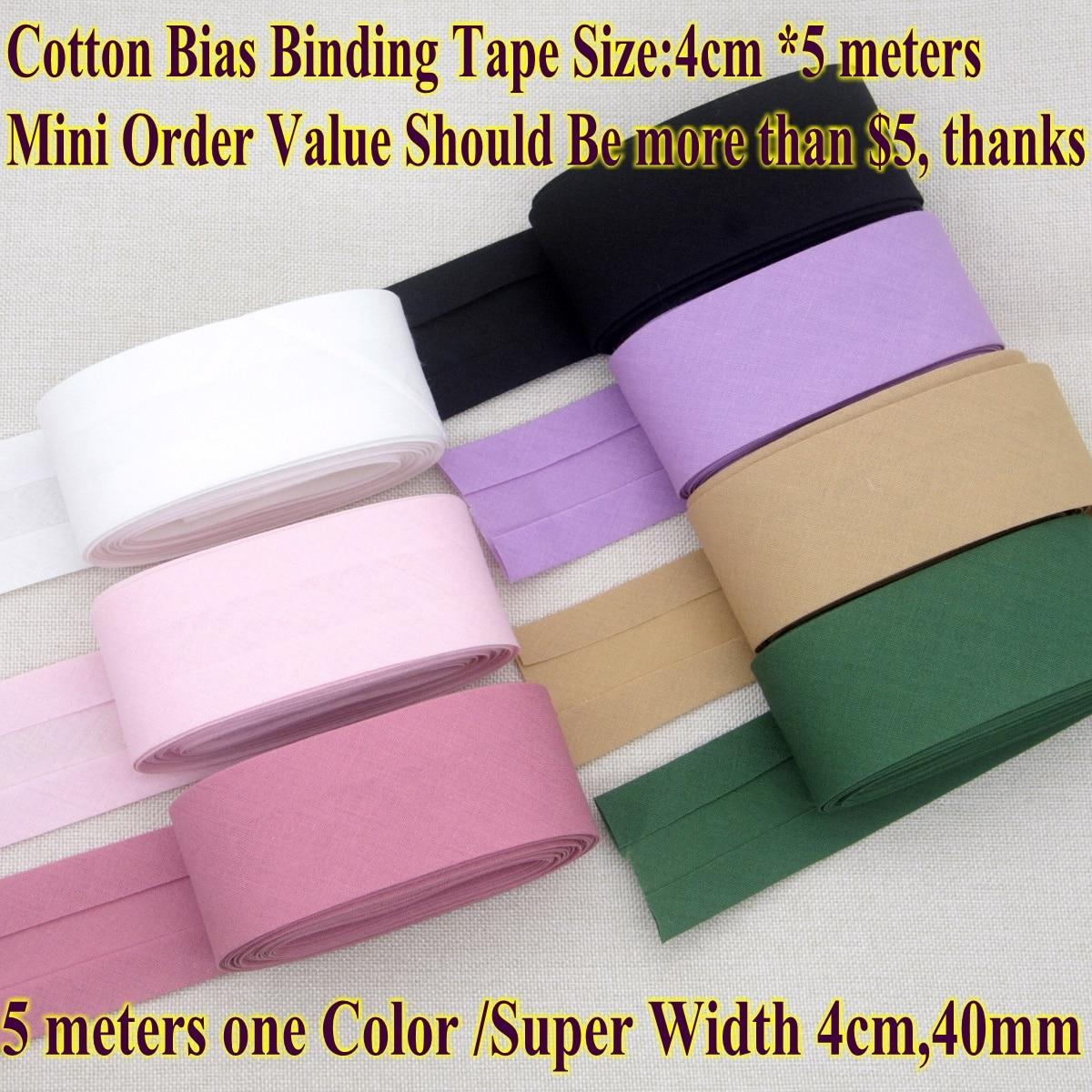 Хлопковая лента для обвязки, размер 4 см, 40 мм, 5 метров, Сверхширокая Складная лента, сделай сам, материал для шитья ручной работы, клейкая лен...