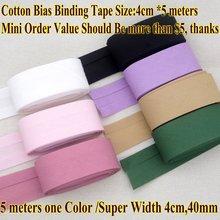 Fita adesiva de algodão tamanho 4cm 40mm 5 metros super ampla fita de dobra diy material de costura artesanal fita de pano