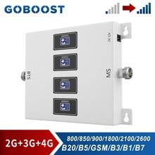 Goboost Mobiele Telefoon Signaal Booster Gain 70dB Krachtige Repeater Gsm 900 850 Umts 2100 Lte 1800 2600 Mhz Vier Band versterker