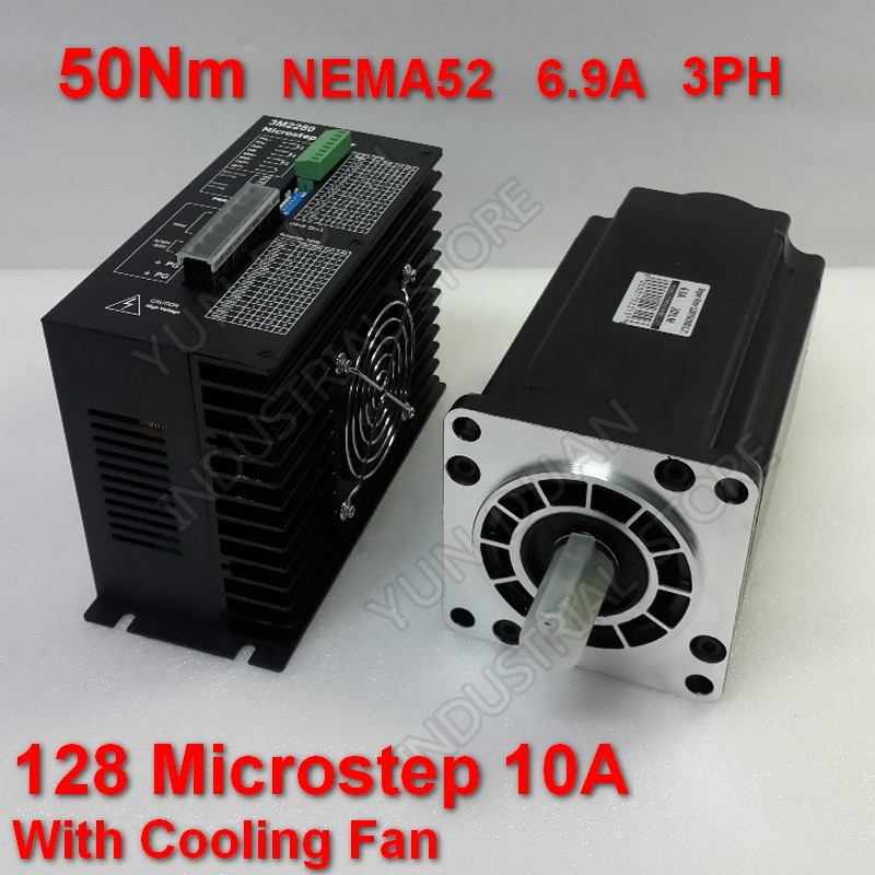 50Nm <font><b>130mm</b></font> NEMA52 6.9A Stepper Motor Driver Kit 3PH 32 DSP AC18-220V 128 Microstep With Cooling <font><b>Fan</b></font> High Torque For CNC image