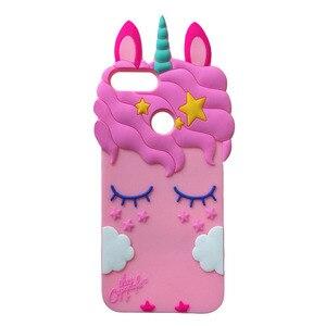 Image 2 - Honor 9 Lite Phone Case For Huawei Honor 9Lite Cover Fundas 3D Cute Pink Horse Unicorn Bear Cat Cartoon Soft Silicon Case Capa