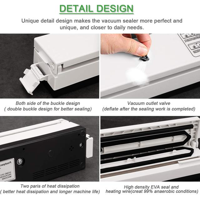 Kitchen Electric Vacuum Sealer Machine Includes 10 Pcs Food Saving Bags Vacuum Sealed 110V / 220V